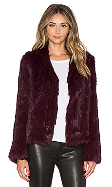EAVES Rabbit Fur Alice Jacket in Bordeaux