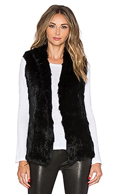 EAVES Rabbit Fur Sarah Vest in Black