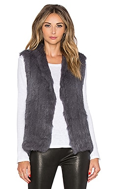 EAVES Rabbit Fur Sarah Vest in Charcoal