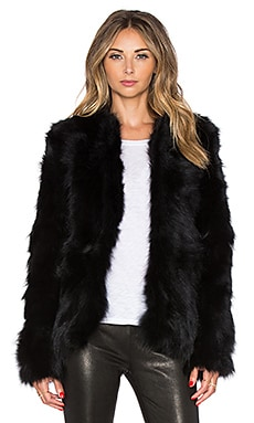 EAVES Fox Fur Helen Jacket in Black
