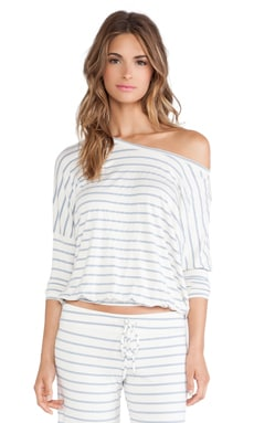 Lounge Stripe Slouchy Tee in Blue Shadow