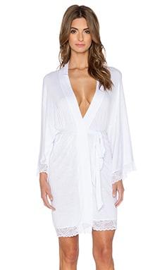 eberjey Gemma Lace Kimono Robe in White