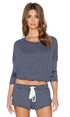 eberjey Dockside Stripe Slouchy Tee in Deep Sea