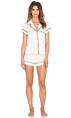 eberjey Gisele Pj Short Sleeve Pj Set in Creme