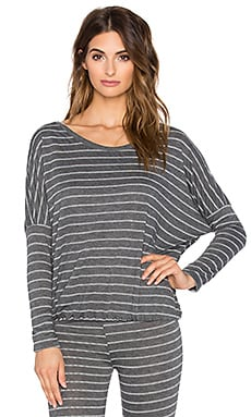 eberjey Ticking Stripes Slouchy Tee in Thunderstorm