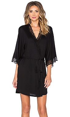 eberjey Georgette Short Robe in Black
