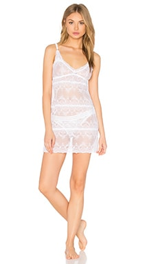 eberjey I Do Lace Chemise in White & Bridal Blue