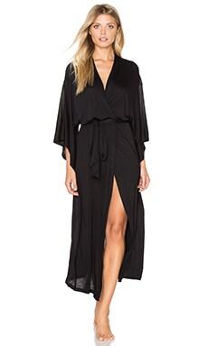 eberjey Colette Long Kimono Robe in Black