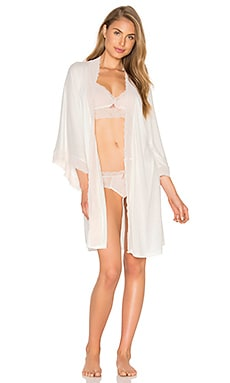 eberjey June Lace Kimono Robe in Magnolia & Blush Pink