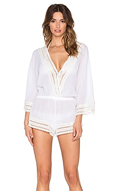 eberjey Love Shack Evan Romper in White