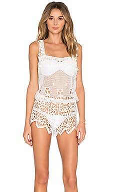 eberjey Spearhead Johanna Romper in Off White