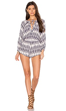 Rumba Reed Romper in Pale Pink & Deep Blue