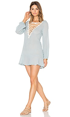 Sea Breeze Natalya Dress in Faded Blue & Ecru