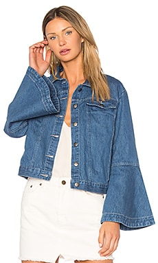 Flute Sleeve Denim Jacket in Light Wash