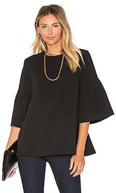Long Sleeve Flute Sleeve Top in Black