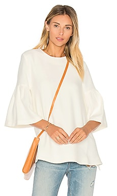 Long Sleeve Flute Sleeve Top in White