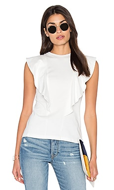 Ruffle Front Tee in White