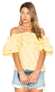 Double Ruffle Off Shoulder Top in Yellow