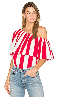 One Shoulder Ruffle Top in Red & White