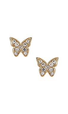 Baby Diamond Butterfly Stud Earrings EF COLLECTION $525 NEW
