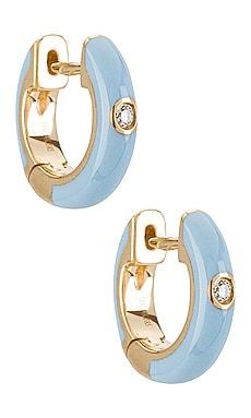 Single Diamond Enamel Huggie Earring EF COLLECTION $550 NEW