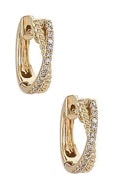Interlocking Diamond And Gold Twist Huggie Earrings EF COLLECTION $750