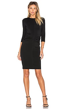 Shirred 3/4 Sleeve Dress in Black