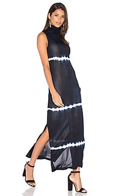 EGREY Sleeveless Turtleneck Maxi Dress in Navy Tie Dye