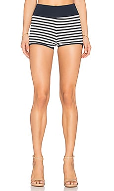 Striped Hot Pants en Bleu Marine & Blanc