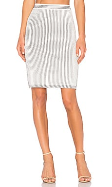 Striped Skirt in Off White & Navy