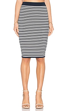 EGREY Striped Midi Skirt in Off White & Navy Blue