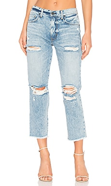 High Waist Distressed Straight