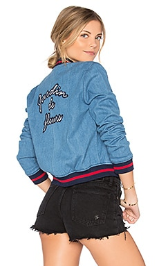 Jardin De Fleurs Embroidered Bomber Jacket in Blue