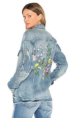 Embellished Oversized Denim Jacket in Medium Destroyed