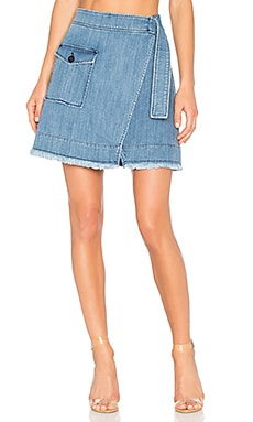 Denim Wrap Mini Skirt in Light Wash