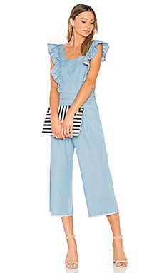 Ruffle Jumpsuit in Light Wash