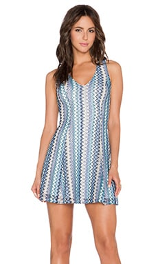 Eight Sixty Zig Zag Fit & Flare Dress in Blue & Navy