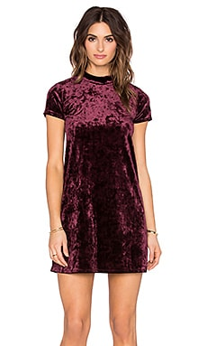 Eight Sixty Short Sleeve Velvet Dress in Burgundy