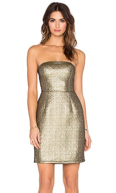 Eight Sixty Strapless Mini Dress in True Gold