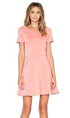 Scuba Cap Sleeve Fit And Flare Dress in Coral Light