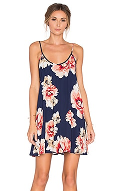 Eight Sixty Border Floral Dress in Navy & Multi