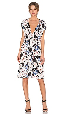 Eight Sixty Lennox Dress in White, Black & Blue
