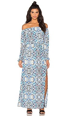 Broken Bloom Maxi Dress in Blue & Multi