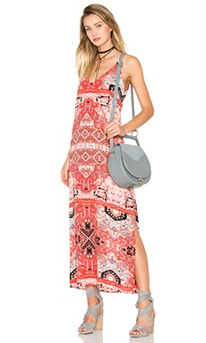 Eight Sixty Moroccan V-Neck Maxi Dress in Red