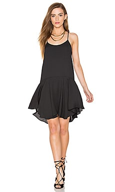 Sleeveless Drop Waist Mini Dress in Black