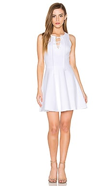 Sleeveless Lace Up Mini Dress in White