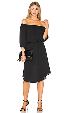 Off The Shoulder Midi Dress in Black