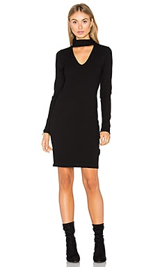 Long Sleeve Ribbed Dress en Noir