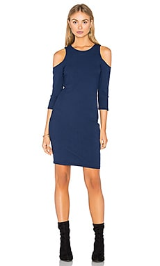 Cold Shoulder Ribbed Dress in Navy