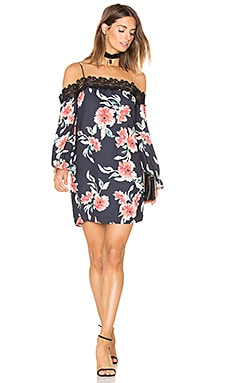Whispering Floral Dress in Black & Coral